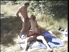 Swinger French Couple Meet The Bull Outdoor