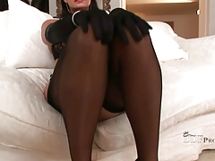 Teasing In Lingery And Nylon Stockings