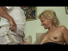 Blonde Mature Masturbates And Sucks And Fucks With Old Man