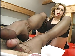 Nylon Lover With Footjob