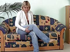 Mature Masturbating On The Sofa