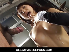 Busty Asian Slut Gets Dirty By Slurping Cum