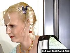 Blonde Takes Grandpas' Anal Gangbang