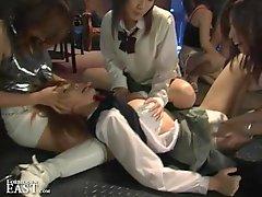 Intense Japanese Femdom Group Catfight