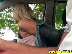Real Stranded Bimbo Sucks Drivers Dong