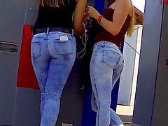 Candid 2 Sexy Teen Asses In Tight Jeans
