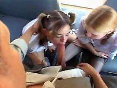 School Bus Girls And Big Cock