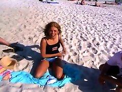 Girl Strips On Public Beach