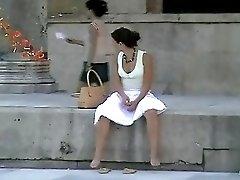 Wind Blown Sitting Upskirt
