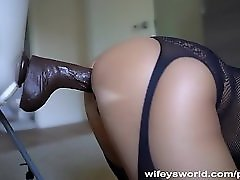 Wifey Takes Her Big Black Dildo Deep Inside