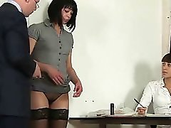 Shy Brunette Secretary Interviewed By Hr Staff