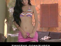 Stunning Bikini Clad Brunette Zoey Kush Strips Down To Masturbate