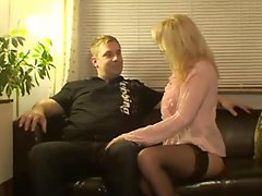 Blond German Milf Fucks Her Visit And Cum On Her Nylons