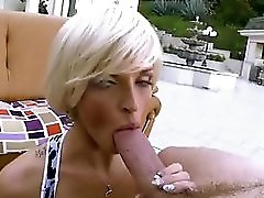 Blonde Milf Sucks A Big Fat White Cock