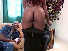 Brunette Ebony With Big Tits Gets Her Tits Sucked Hard By Guy On The Sofa
