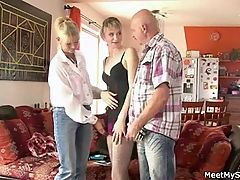 Old Mom And Dad Seduce And Bang Son's Gf