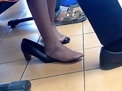 Candid Asian Shoeplay Dipping Feet In Nylons Stewardess