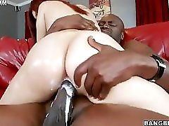 Big Booty White Girl Creams While Riding A Big Black Dick