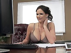 Four Hot Big Boob Office Sluts Fuck Boss' Big Dick In Office