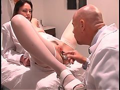 Doctor Inserts Speculum In Rosy Titted Nurse's Wide Open Cunt